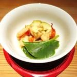 日本料理 幸庵 - 海老の治部煮、焼きなす、百薬草、おろし生姜