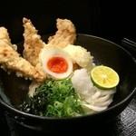柔製麺 - 桜島鶏天と蘭王半熟玉子天ぶっかけ・生醤油(冷・温) 890円
