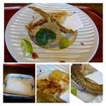 32760598 - キスの天ぷら・・衣に栗が混ぜられていますので風味がいいですね。                       骨もじっくり揚げてあり美味しい。