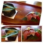 32760618 - 蕪すりながし・タコ(鯖)鮨・永源寺の赤こんにゃく。                       この時期は「蕪」を出すお店が多いですが、甘みがあり美味しいですね。他は普通かしら。