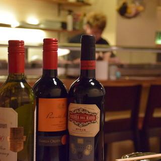 ワインの種類も豊富です☆