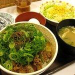 すき家 - ねぎ玉牛丼サラダセット(並)480円