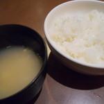 肉家焼肉ゑびす本廛 - ご飯とスープ