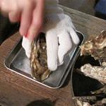牡蠣小屋 海賊船 - まずは、生牡蠣から。オイスターバーではありませんので、まんま殻ごとです。                             お店のオネエサンがお手本代わりに一つ剥いてくれました。