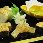 32830674 - 茶屋膳-前菜(魳の棒寿司、鶏松風など)