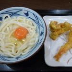 丸亀製麺 - 釜玉うどん&鶏天&エビ天(H26.11.22)
