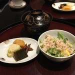 日本料理 太月 - 御食事 合鴨と九条葱の炊き込みご飯、香の物、赤出汁 2014-11