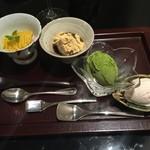 日本料理 太月 - 甘味 安納芋モンブラン、わらびもち、大納言アイス、抹茶アイス 2014-11