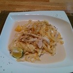 "ZOO - 料理写真:イベントメニューの""松茸の和風すだちクリームパスタ""。ちゃんと焼き松茸の裂いたのが入っている。街のみ企画チケット500円分で。"