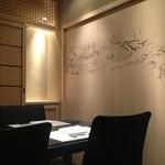 銀座 よし澤 - [2014/11/23]4名個室。鳥獣戯画が描かれています。そういえば、お茶碗も鳥獣戯画。