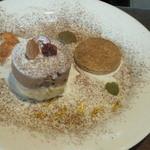 石窯キッチン&カフェ ぶらぼぅ - ぶらぼぅショコラとヘーゼルナッツクリームのタルト(ケーキとクッキーの位置が動いてしまい・・スミマセン)