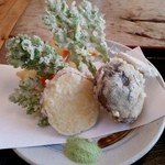 越畑フレンドパーク まつばら - 野菜の天ぷら+抹茶塩