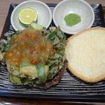 モスカフェ - 九条葱のかき揚げバーガー(890円)