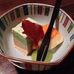 魚勝 - 甘味(豆とキノコのムース、柿、ラ・フランス、マスカット)