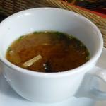 丸太小屋レストラン  びんずる - セロリ・スープ@フォレスト・ポークソテー