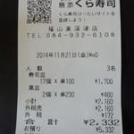 無添くら寿司 - レシート(2014.11.21)