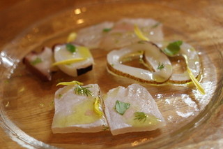 Loasi - 2014ン11月 お魚のマリネ盛り合わせ  やりいか、カジキ、蛸、ひらめ