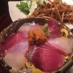 わびさび - ミニ海鮮丼と生姜焼き