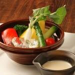"""""""今日イチ野菜""""の""""バーニャカウダ"""" ~豆乳仕立てのソースで~"""
