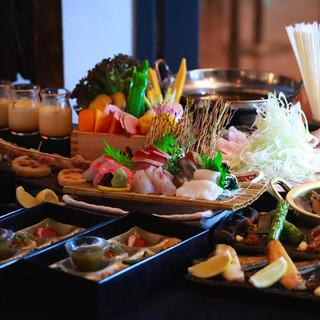 産直鮮魚や野菜を目の前で焼上げる