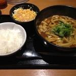 32906424 - 黒カレーうどん+ご飯・サラダ付