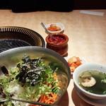 32908635 - キャベツサラダ、大根キムチ、イカいり大根のあえ物、スープ付( ^o^)