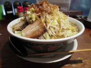 ラーメン・つけ麺笑福 米子店 - 2014年11月 ラーメン、野菜まし、アブラまし、カラメまし
