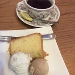 さんしょうあん - シフォンケーキと栗のアイス