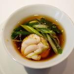 ピ・グレコ - <2014年11月>炙った白子と九条ねぎのコンソメスープ。三者の味わいのバランスの妙。