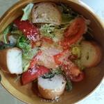 水戸ナポリ - サラダ¥280 …温泉卵添え。 ドレッシング 濃すぎでした  (;_q)