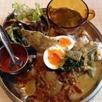 ミカンバコ - ぜんぶのせカレー(ビーフドピアザ(牛すね肉とたまねぎ)&オクラのココナッツカリー)