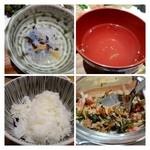 魚助食堂 - ご飯は半量です。お鮨物はお出汁とごまのみという潔さ。 小鉢は春雨の酢の物。自家製ふりかけが美味しいですよ。500円で販売されていました。