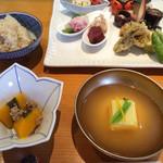 近江懐石 清元 - 柚子豆腐、きのこご飯、南瓜の煮物です