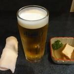 竹花 - 生ビール:230円、お通し