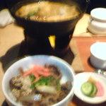 麻布 武藤 - ランチ:宝刀とミニ丼、ミルクプリン付き。1100円