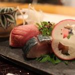 馳走菴 ひじり - ぶり、しめさば、伊勢マグロのお作り、つまは長芋