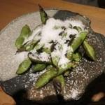 あさつき - 枝豆は炒る方式です。