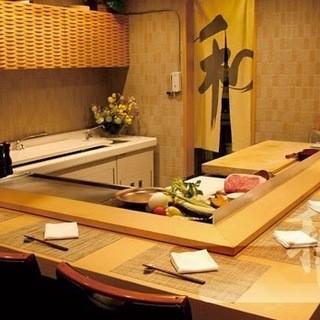 個室利用可:鉄板焼の醍醐味、カウンターを貸切で個室空間に!