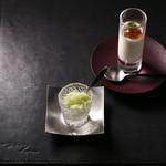 食酒 あきしろ by Mizuno - 自家製パンナコッタ、珈琲ゼリーと・大葉とマッコリ酒のグラニテ