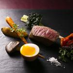食酒 あきしろ by Mizuno - 鹿児島県産黒毛和牛イチボ肉のロースト、淡路島西洋野菜園の季節お野菜と