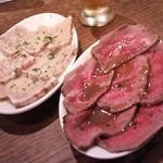 33085800 - 牛肉のたたきバルサミコソース 、カジキマグロの焼きカルパッチョ