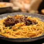 五右衛門 - モッツァレラチーズとなすの黒毛和牛ミートラグーソース 1150円(税抜)