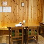 桃李庵 - この席のみ、2人掛けテーブルが引っ付けられて4人掛け仕様になっていました