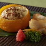 和門 おく山 - 先付け:鱈の白子入り柚子蒸し 金目鯛の素揚げをぽん酢とあさつきと紅葉おろしと一緒に