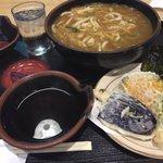 源手打めん処 - カレーうどん定食 ¥880 麺大盛り¥120 小天ぷら盛+小ライス+¥280
