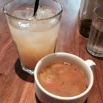 ロイヤルガーデンカフェ - ランチセットのドリンクとスープ
