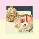 ラ・セーヌ - 奥:モンブラン  手前:レアチーズケーキ