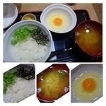 たまごかけごはん屋 あかね農場 - すっぴんたまごかけご飯(390円)・・つまんでご卵・お味噌汁・ご飯・香の物のセットです。