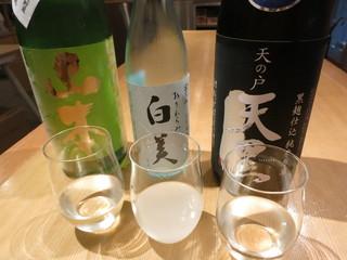 銀座酒蔵検校 - new花セット60ml×3種で650円。