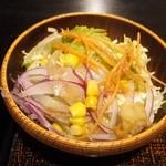 ハナマル霞庵 - 「天丼セット」の ミニサラダ
